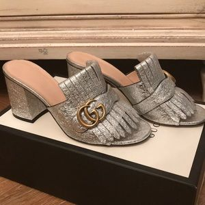 Gucci Marmont Gg Peep Toe Kiltie Mule